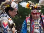 Dad and Son at Six Nations Powwow
