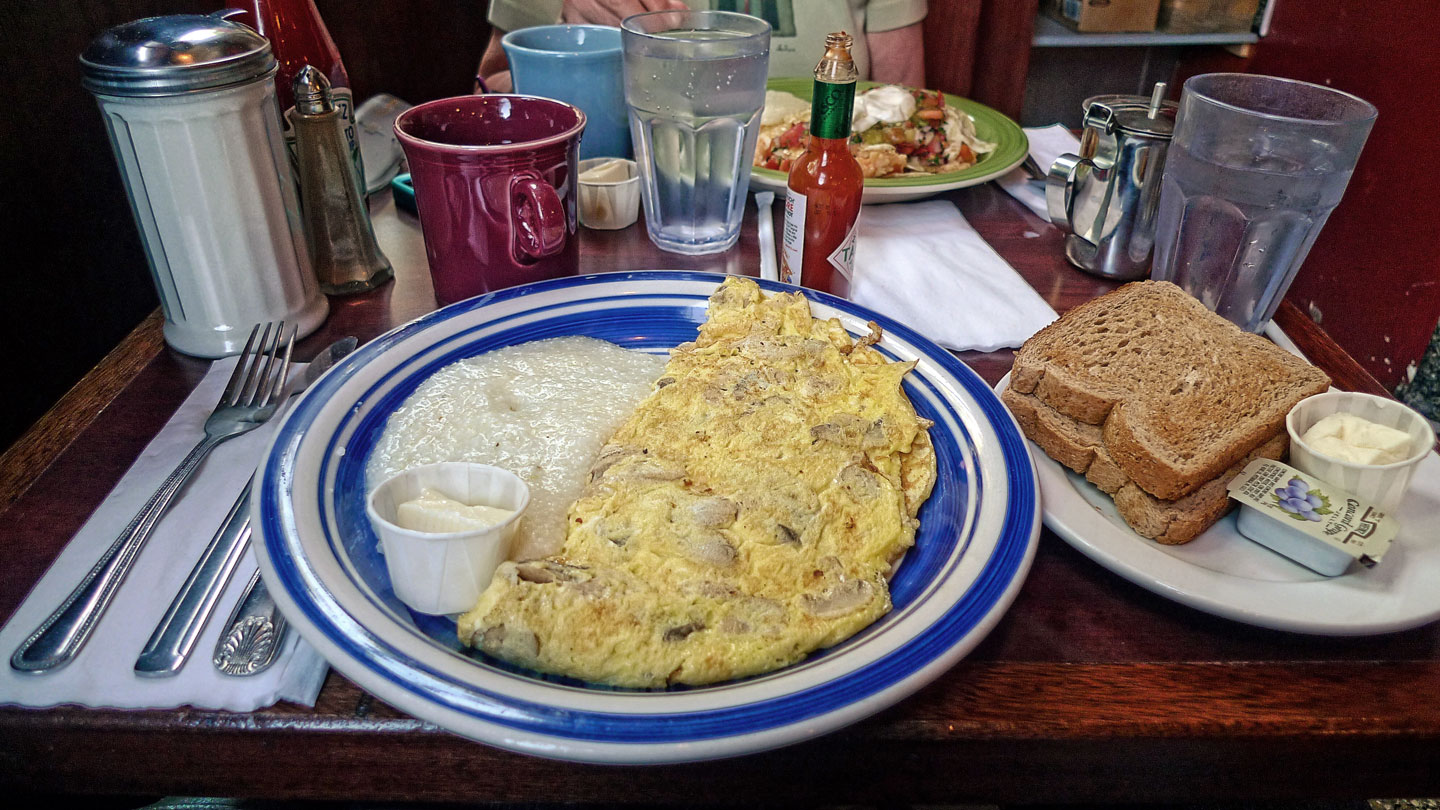 Egg Whites and Grits at Two Boots, Brooklyn, NY
