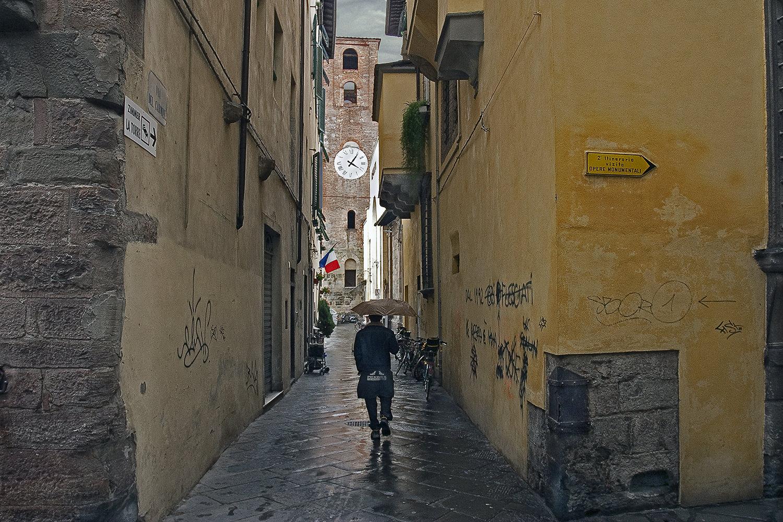 Lucca Clock Tower in Rain