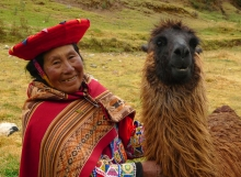Quechua Woman with her Companion at Tambomachay