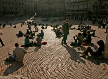Students in Piazza del Campo, Siena